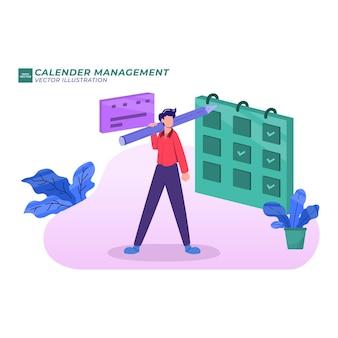 Planification d'illustration plate de gestion de calendrier