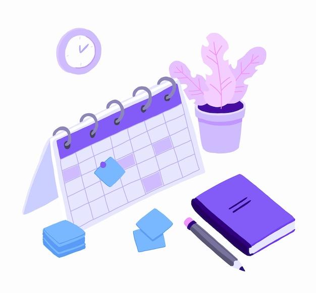 Planification isométrique des plannings des tâches commerciales pour la semaine.