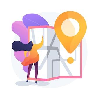 Planification d'itinéraire de voyage. voyage en ville, tourisme urbain, idée de cartographie. fille naviguant avec le personnage de dessin animé de carte papier. outil d'orientation à l'ancienne.
