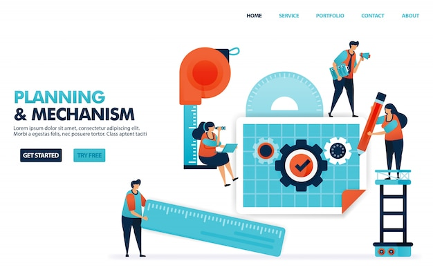 Planification d'un mécanisme dans le plan d'entreprise, concept de construction de société de conception avec des procédures d'exploitation standard.