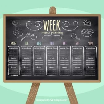 La planification de menu semaine tableau noir