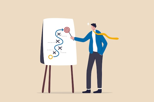 Planification de la stratégie commerciale, tactique de marketing ou stratégie gagnante pour atteindre la cible, bloqueur de projet et solution pour être un concept de réussite, homme d'affaires intelligent présentant la stratégie commerciale sur le tableau blanc.