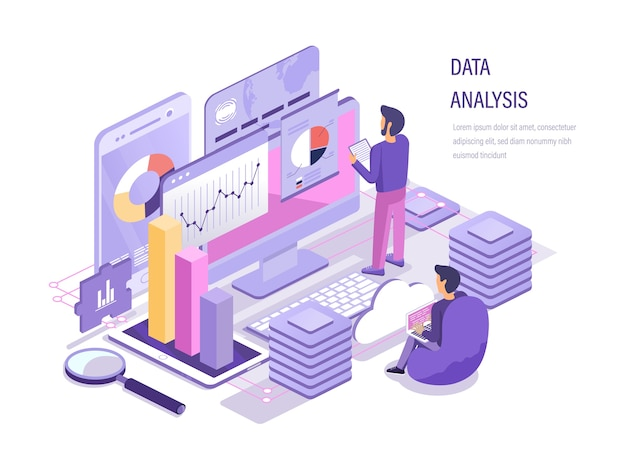 Planification de la stratégie, marketing, analyse des diagrammes en équipe, étude des performances du budget financier isométrique.