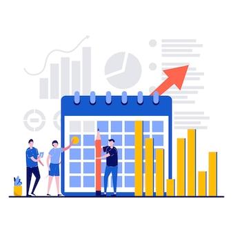 Planifier le concept de statistiques avec de minuscules analystes de caractère d'équipe planifie une semaine de travail par mois