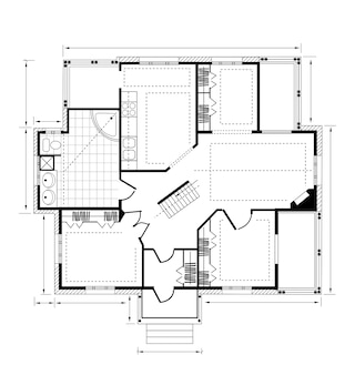 Planifier une maison de campagne sur fond blanc