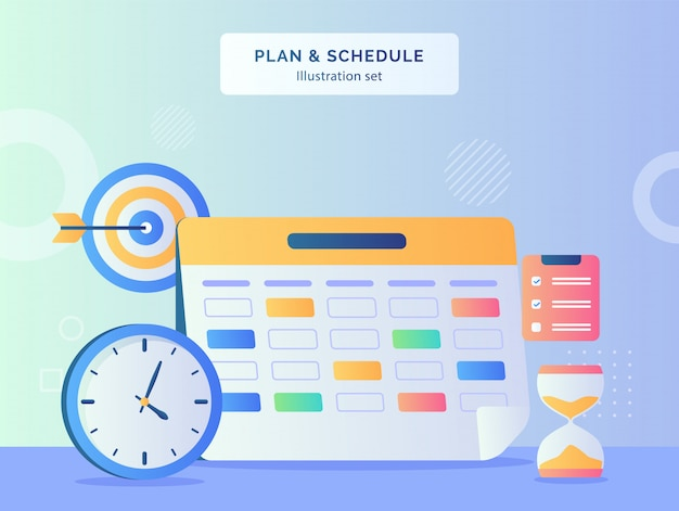 Planifier et planifier l'illustration définie le calendrier de la date du marqueur de l'horloge cible objectif heure verre presse-papiers