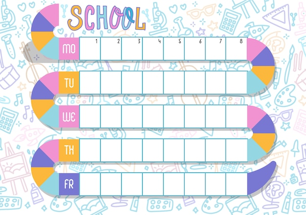 Planning hebdomadaire. calendrier de vecteur multicolore. calendrier scolaire des leçons pour les étudiants avec piste de serpent.