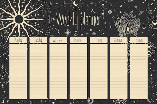 Planning hebdomadaire. les étoiles, les constellations, le soleil et la lune. vintage rétro.