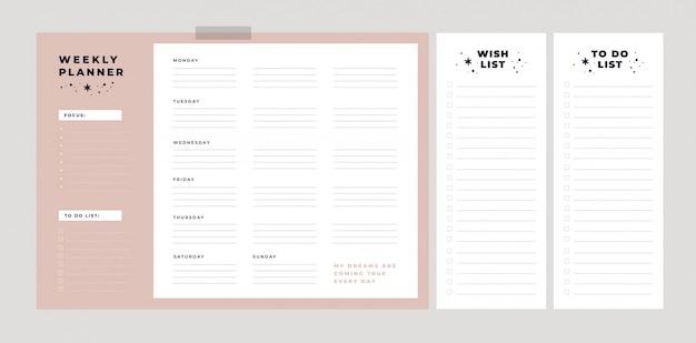 Planning hebdomadaire. liste de souhaits, liste de choses à faire. les rêves deviennent réalité. suis tes rêves