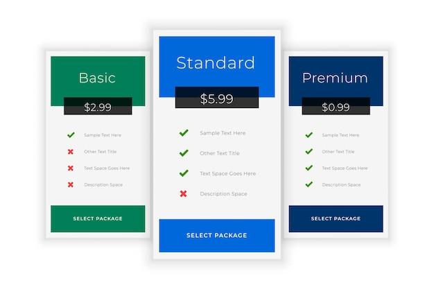 Plans d'abonnement et modèle de tableau des prix