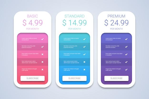 Plans de tarification colorés simples