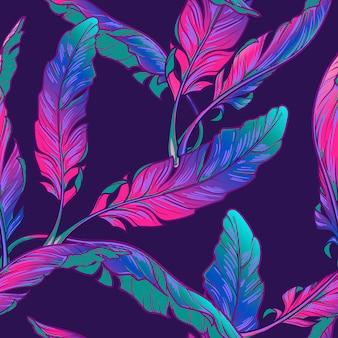 Plant de bananier laisse sur un fond violet foncé. jungle tropicale.