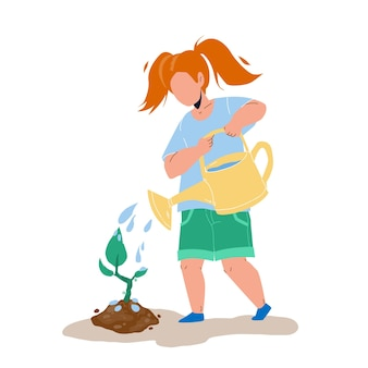 La plantation d'arbres et l'arrosage vecteur fille enfant. soin de jeune arbre petit enfant dans le jardin. semis de plantes de caractère, profession de jardinage et environnement écologique illustration de dessin animé plat