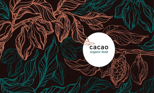 Plantation de cacao arbre dessiné à la main haricot frais feuillage vert nuit tropicale avec lune