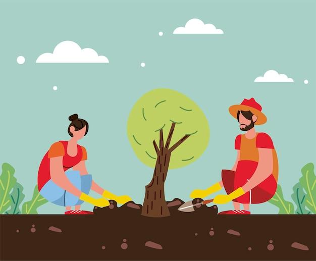 Plantation de couple d'agriculteurs