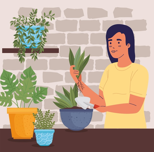Plantation de jardinier de femme