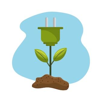 Plante de cable électrique avec feuilles et terre