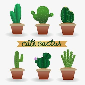Plante de cactus de vecteur mignon réaliste dans la collection de pot