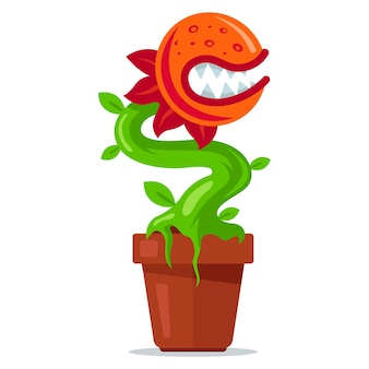 Plante carnivore en pot. fleur prédatrice avec des dents. illustration vectorielle plane.