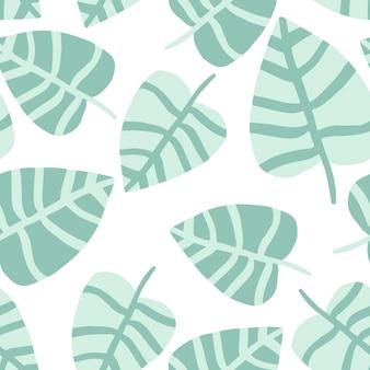 Plante exotique. la nature estivale dessine l'impression de la jungle. motif tropical, feuilles de palmier fond floral vectorielle continue.