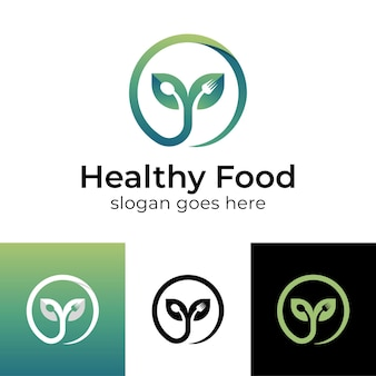 Une plante ou une feuille qui pousse dans la nature pousse avec une cuillère et une fourchette pour la conception de logo d'aliments sains végétariens et diététiques