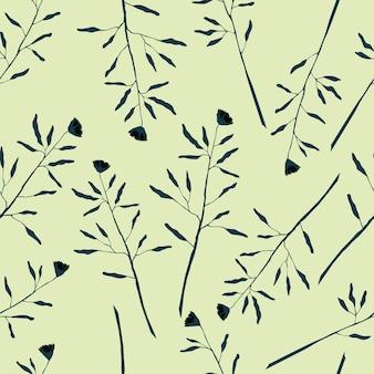 Plante, fleur, modèle, seamless, modèle, à, feuilles, et, branches, vecteur, stock, forêt, illustration