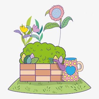 Plante fleur printanière avec buisson et arrosoir