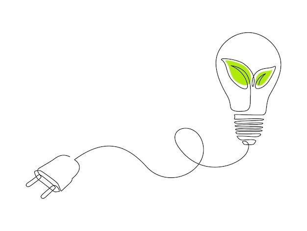 Plante à l'intérieur de l'ampoule et branchez un dessin au trait