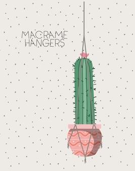 Plante d'intérieur de cactus dans des cintres en macramé