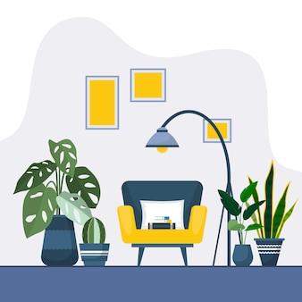 Plante d'intérieur tropicale plante décorative verte illustration de la maison intérieure