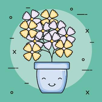 Plante de jardin en pot caractère kawaii