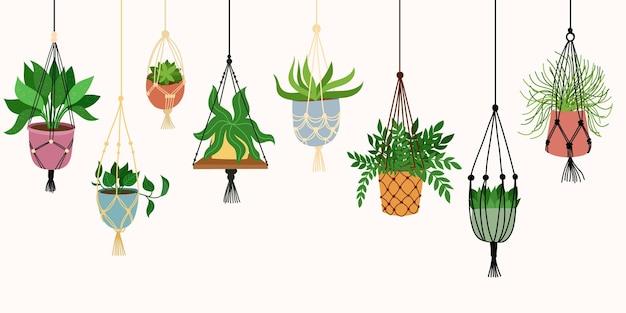 Plante en macramé scandinave. décoration intérieure de maison boho. isolé sur fond blanc. illustration dessinée à la main.