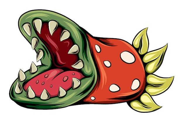 Plante monstre effrayant avec une grande bouche et des dents pointues