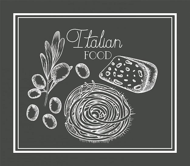 Plante d'olive et fromage dessiné, cuisine italienne