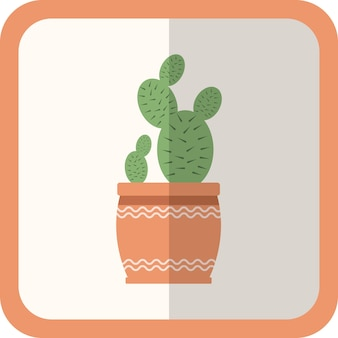 Plante plate verte de vecteur dans le pot. icône simple avec ombre. élément décoratif de jardinage floral pour la conception, le jeu, les concepts.