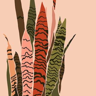 Plante sansevieria dans un style tendance minimaliste. silhouette d'une plante dans un style abstrait simple et contemporain. collage d'illustration vectorielle. pour l'impression de t-shirt, carte, affiche, publication sur les réseaux sociaux