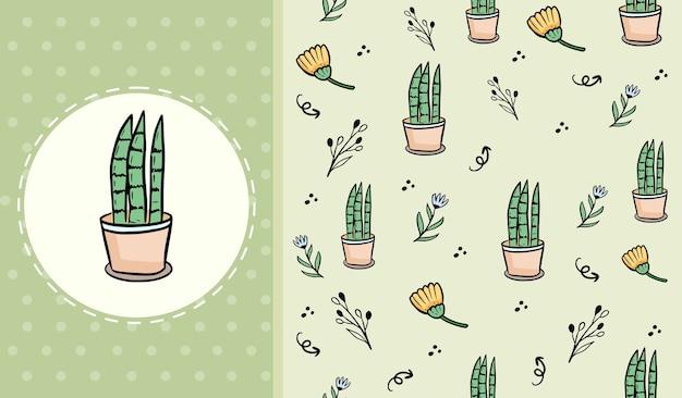 Plante verte mignonne sur caricature de modèle sans couture de pot