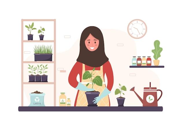 Planter à la maison. dessin animé femme islamique replantant des semis dans l'orangerie.