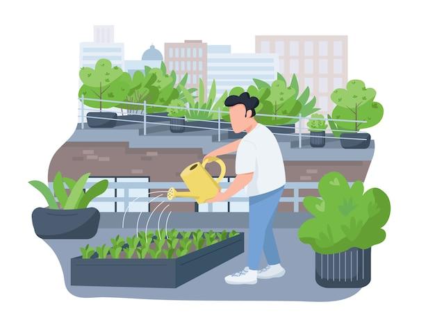 Plantes arrosant bannière web 2d, affiche. homme tenant un arrosoir, personnage plat horticulteur sur fond de dessin animé. de plus en plus de verdure sur les correctifs imprimables du toit de la maison, des éléments web colorés