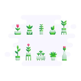 Plantes de bureau dans un style plat