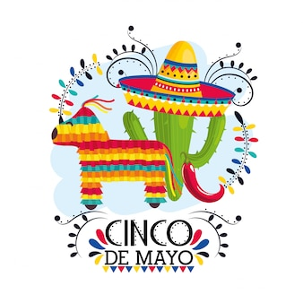 Plantes de cactus avec chapeau à l'événement mexicain
