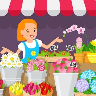 Plantes décoratives, illustration boutique plat de fleurs