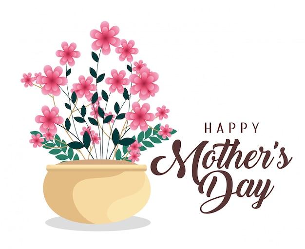Plantes de fleurs à la fête des mères heureux