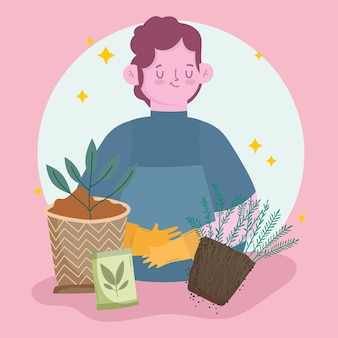 Plantes homme jardinier