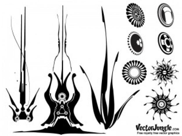 Plantes indigènes et soleil vecteur ensemble décoratif