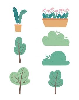 Plantes en pot fleurs arbres arbres buissons verdure jardin botanique icônes illustration