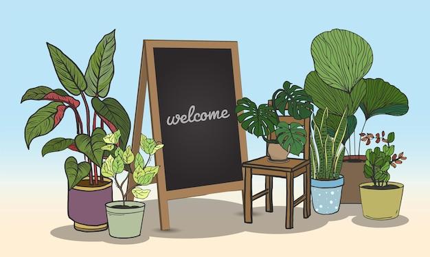 Plantes en pot avec style de dessin à la main tableau noir