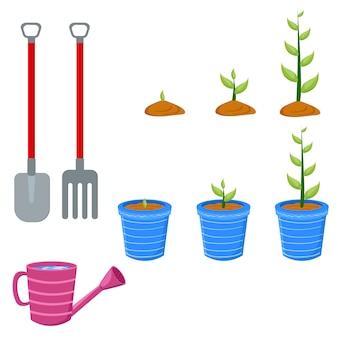 Plantes pots de fleurs gants charrue pelle fournitures de jardin