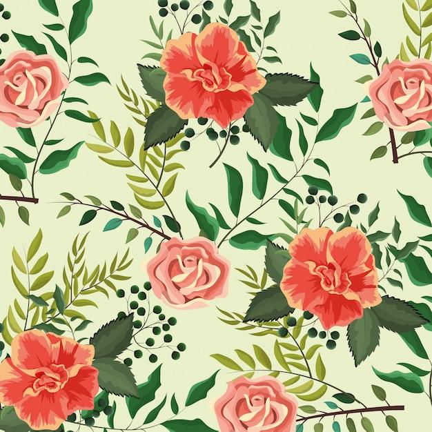 Plantes roses exotiques avec fond de feuilles