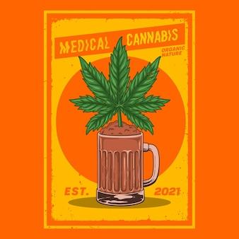 Plants de cannabis dans des verres à bière